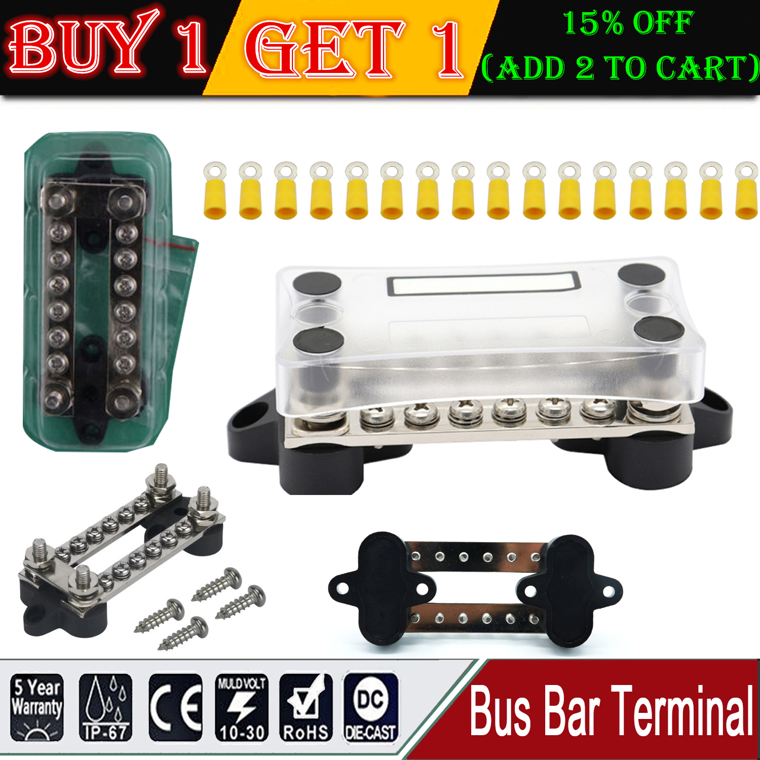 5 Terminal 100 Amp Bus Bar Kit Heat Shrink Ring Terminals Included