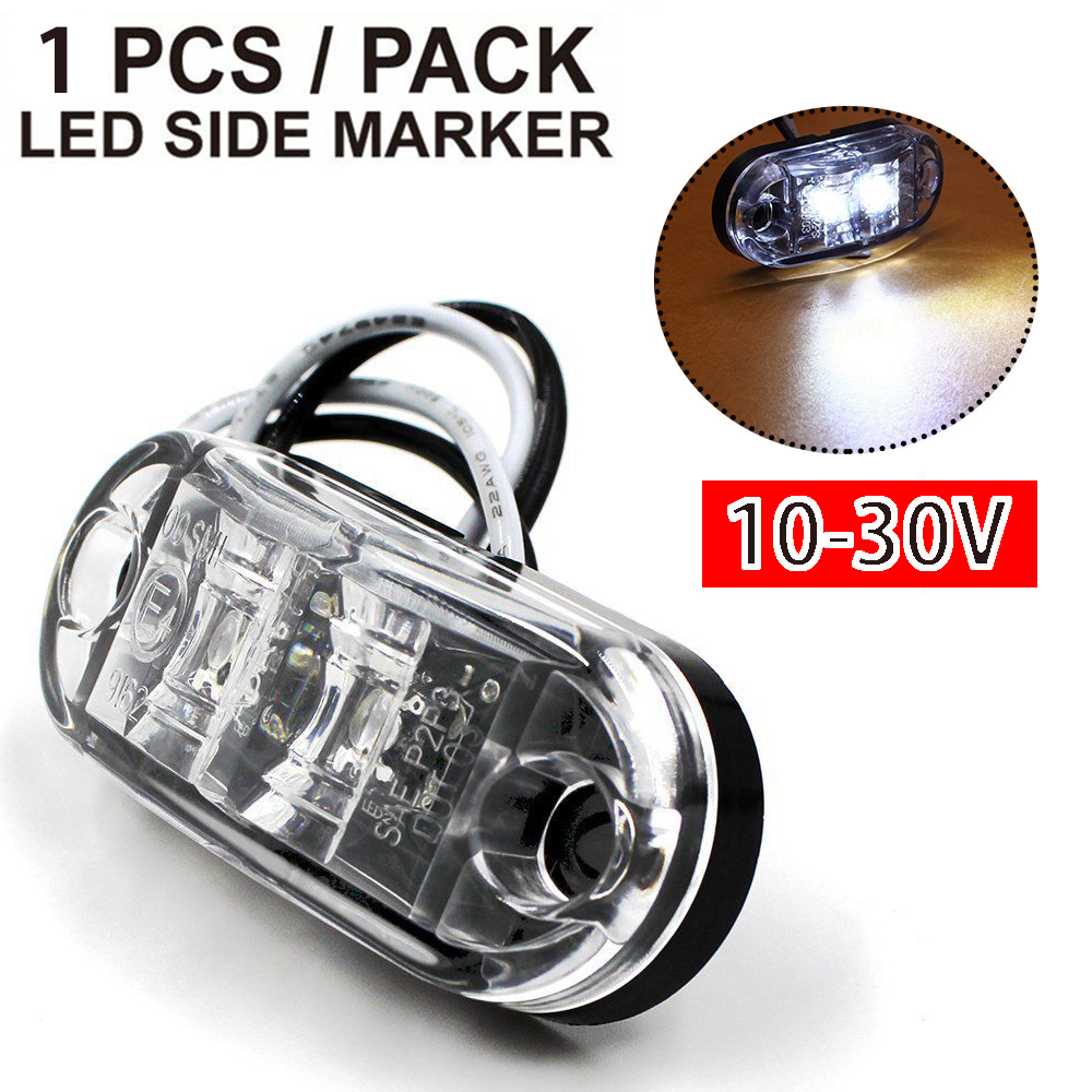 10 Pcs 24v Led Front White Clear Side Marker Lights Lamp Truck Trailer Lorry Bus