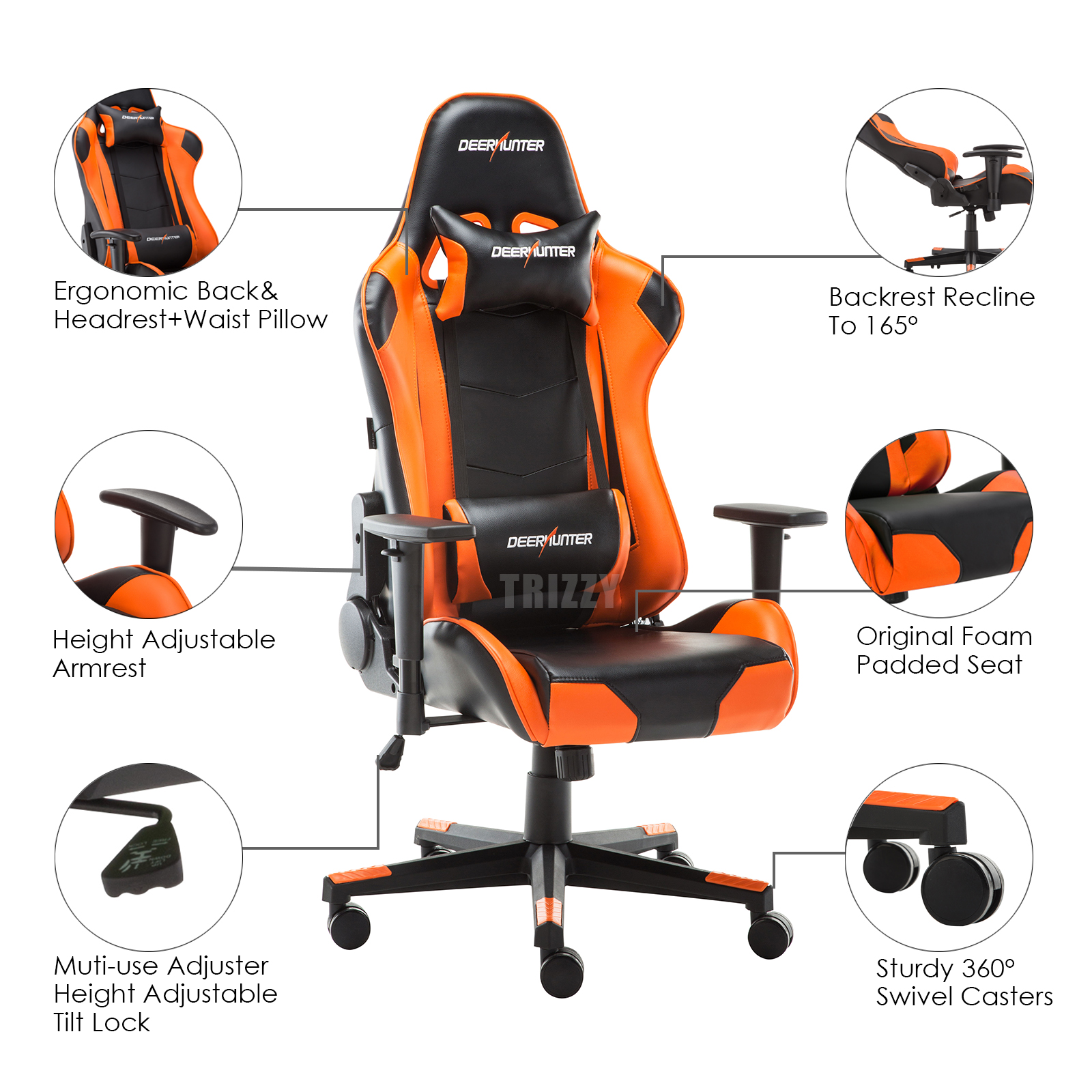 Recline Faux Leather Ergonomic Racing Gaming Office Computer Luxury Chair Orange