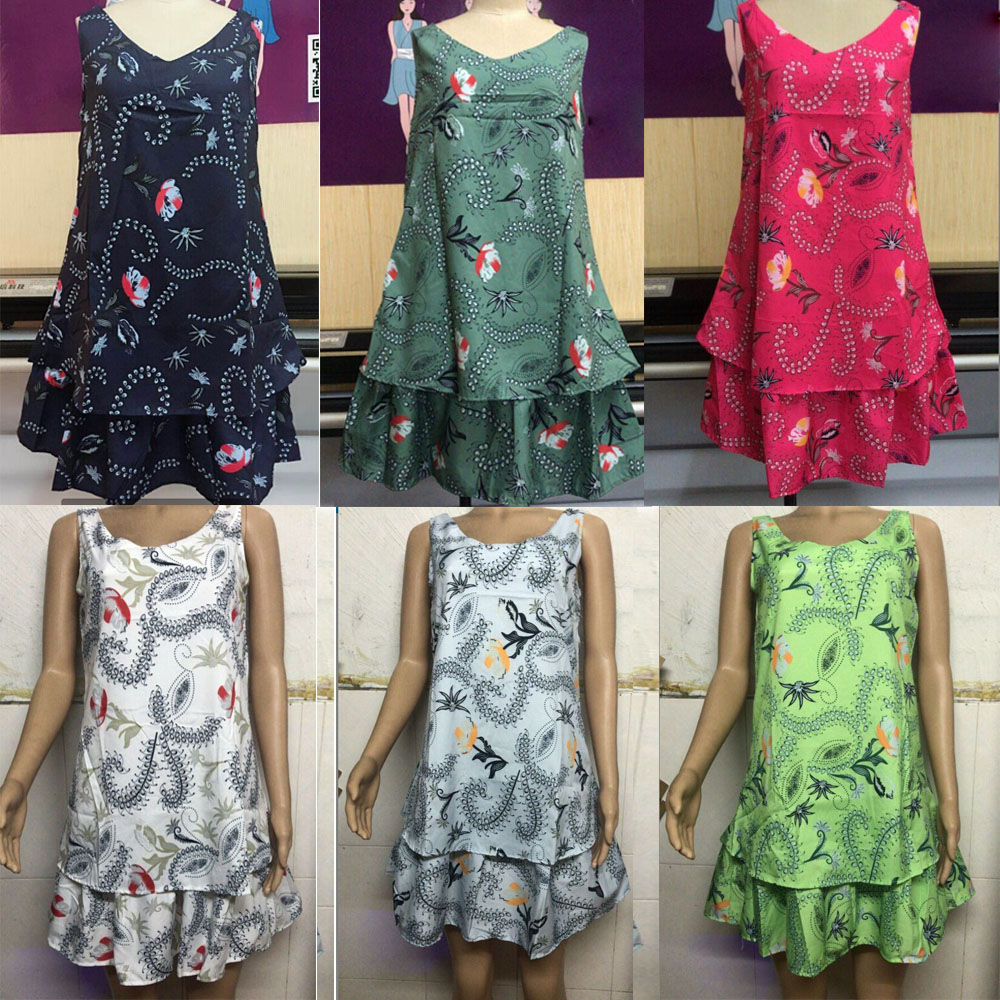 f799cd91114ea Details about New Ladies Lagenlook 2 Layered cotton Summer Sun Dress One  size 10 12 14 16 18