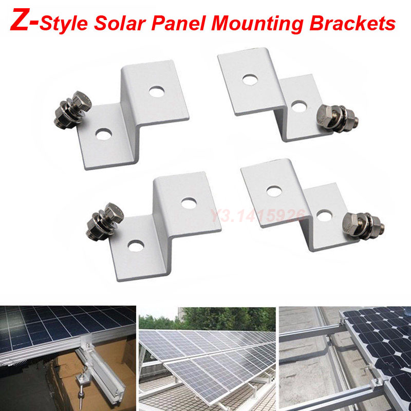 4pcs Z Style Solar Panel Mounting Kits Aluminum Brackets