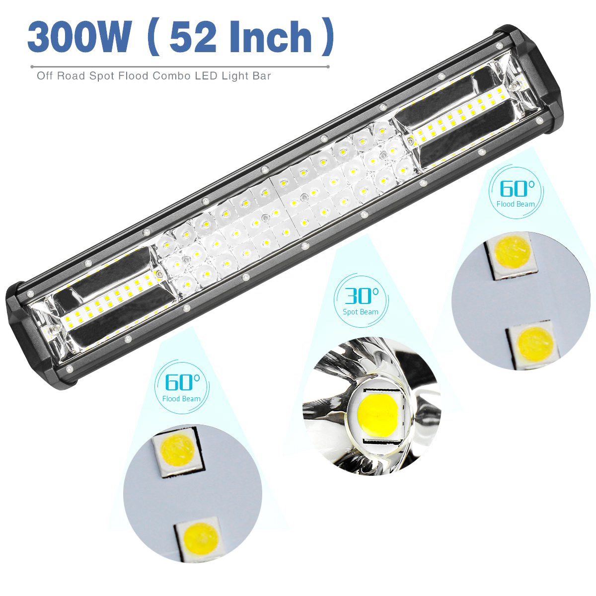42 Inch 2376W Tri-Row LED Work light bar Combo For Offroad Jeep ...