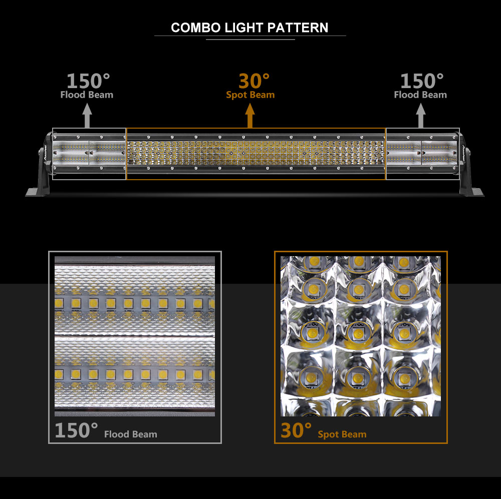 10D 30Inch 2400W CREE Led Spot Flood Work Quad Rows COMBO ...