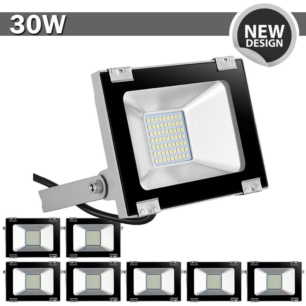 4X 30W 12V LED Fluter Außen Sicherheit Garten Lampe Strahler Flutlicht IP65 Weiß