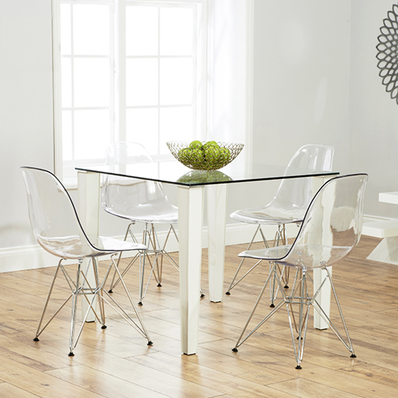 Clear Kitchen Chairs: Clear Ghost Chair Eiffel Style Transparent Steel Chairs