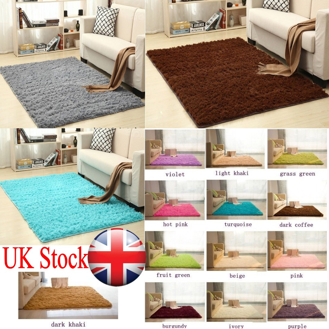 Details About Luxury Living Room Carpets Floor Rugs Small Large Thick Plain Gy Bedroom Mat