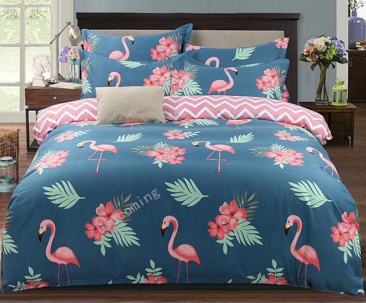 4Stk Bettwäsche Set Flamingo Muster Baumwolle Bettbezug-Set ...