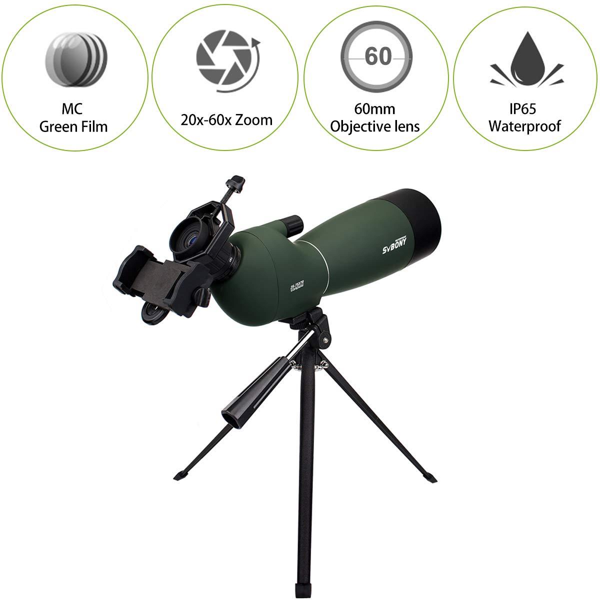 SVBONY SV28 20-60x60mm Angled Zoom Spotting Scope MC IP65 Waterproof+Tripod Hot
