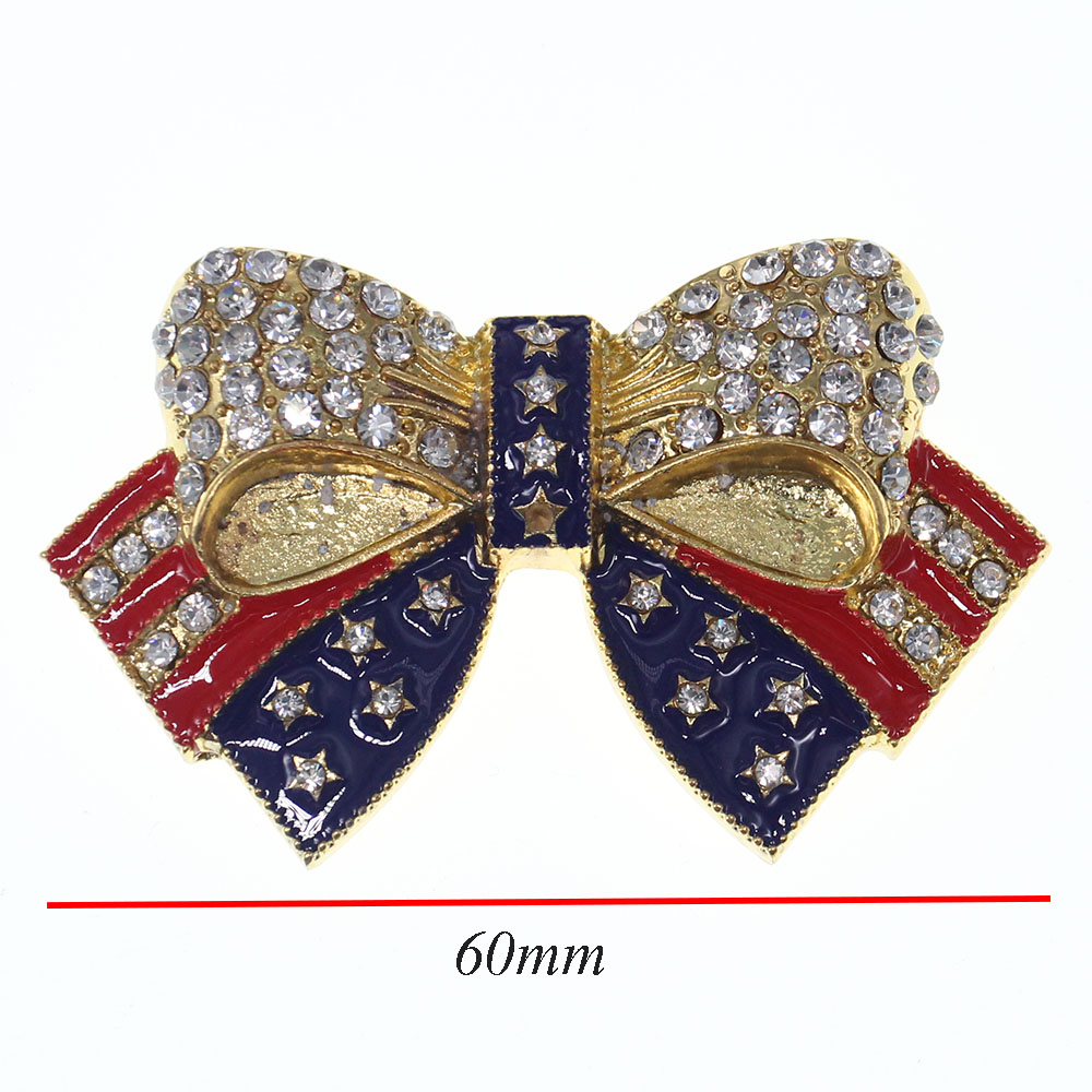 Gold Color Rhinestone Bow Brooches For Women Large Bowknot: Rhinestone Brooches Gold Tone Crystal Enamel USA Flag Bow