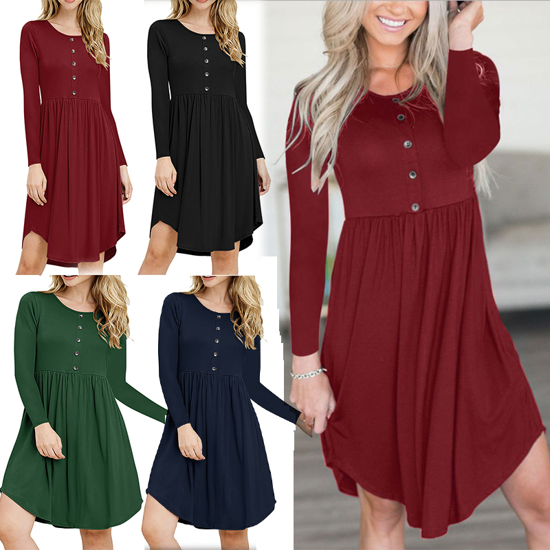 227d02c3cc7 Details about Women Casual Swing T-Shirt Dress Long Sleeve Button Pleated  Loose Short Dress