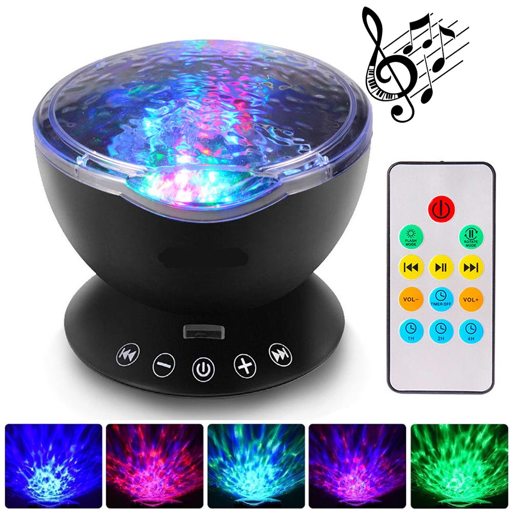 Details About Relax Ocean Wave Music Led Night Light Projector Remote Lamp Baby Sleep Gift Uk