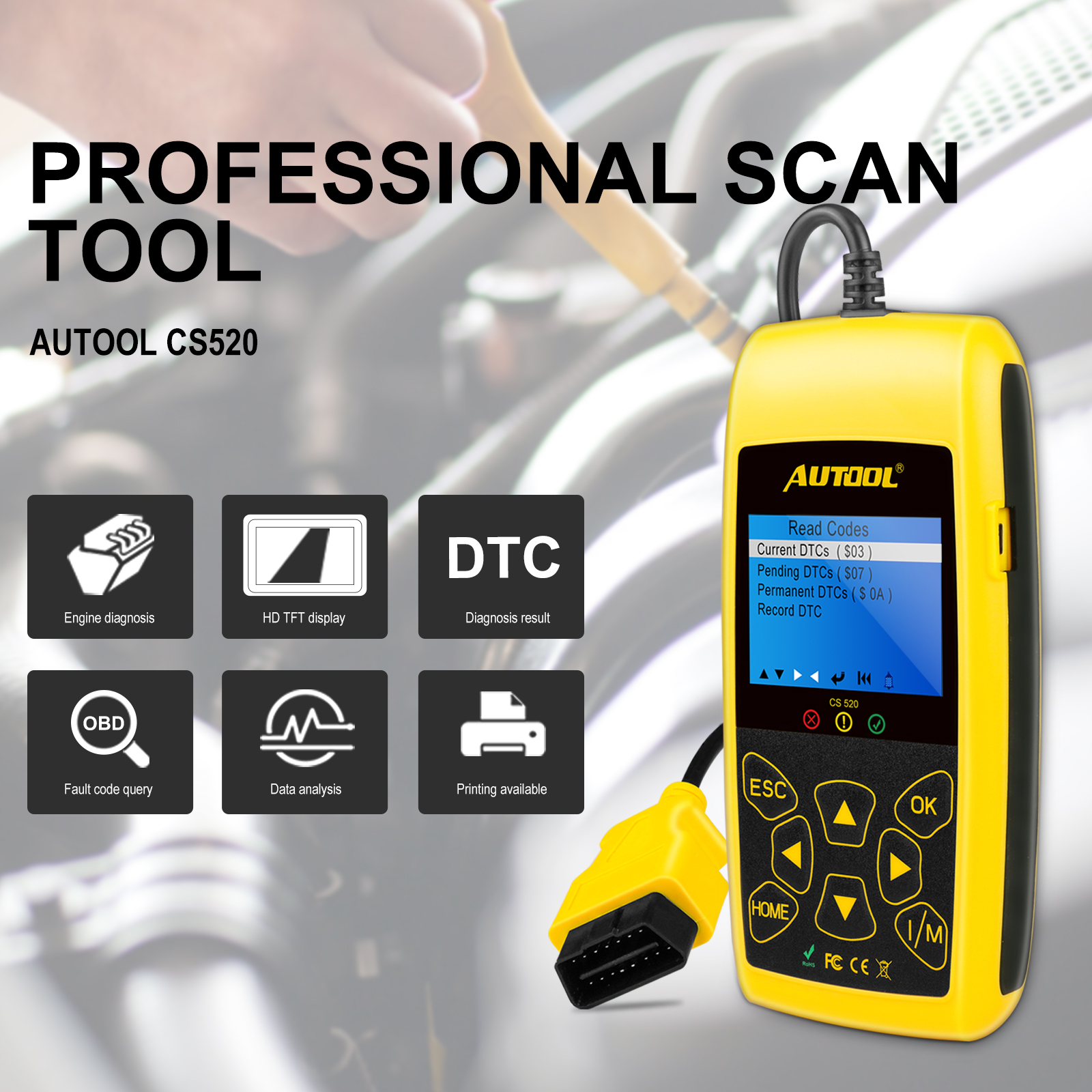 Details about Autool CS520 OBD2 EOBD Can-Bus Code Reader Live Data  Diagnostic Scanner Tool US