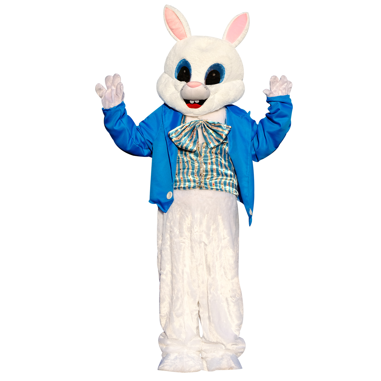 Plush Halloween Easter Bunny Mascot Costume Green Vest  Mask Adult Rabbit