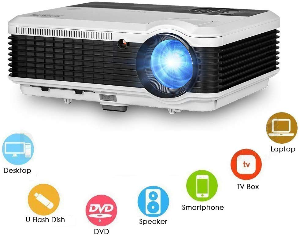 EUG LED 1080p Projector Big Screen Movie Game Multimedia VGA