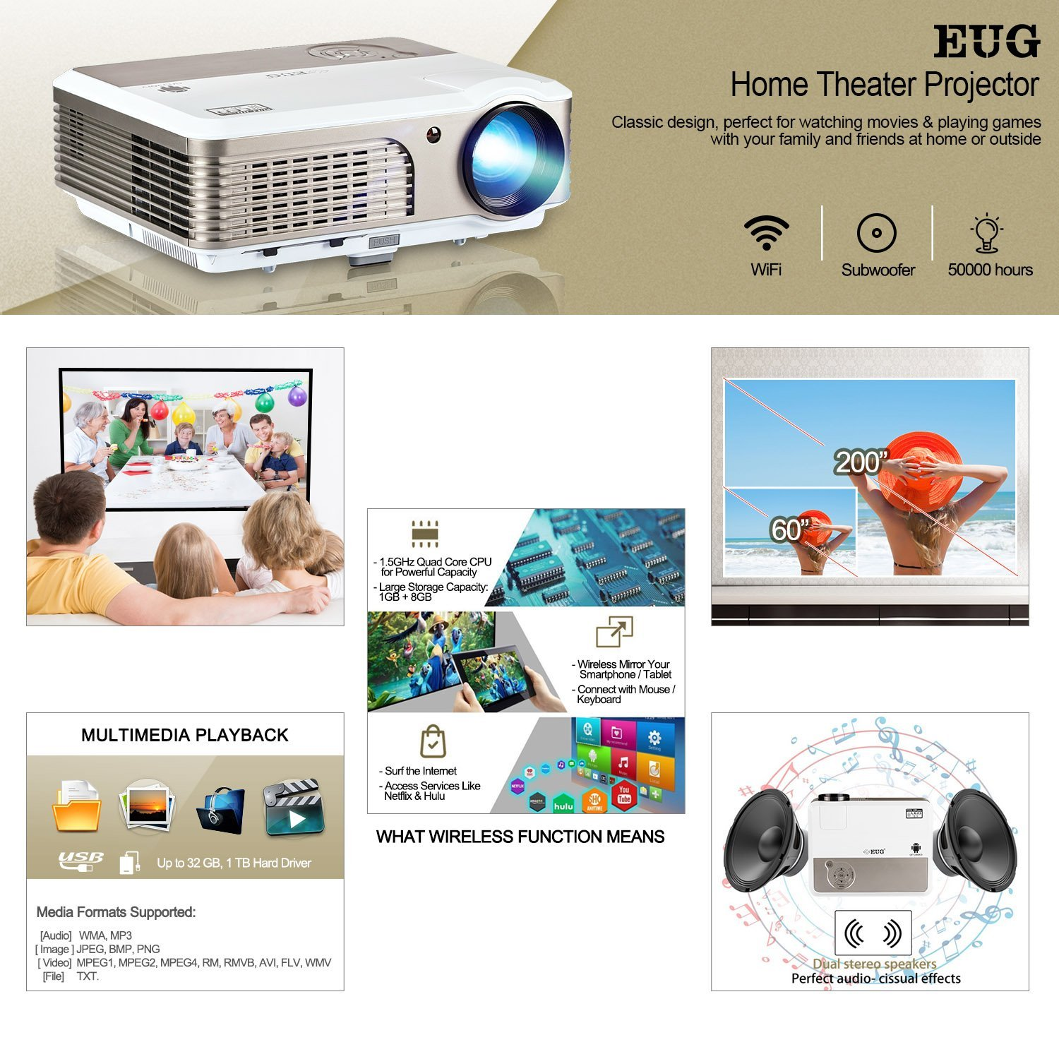HD 1080p LED LCD Home Theater Video Projector 4000Lumens HDMI USB Film  Celling