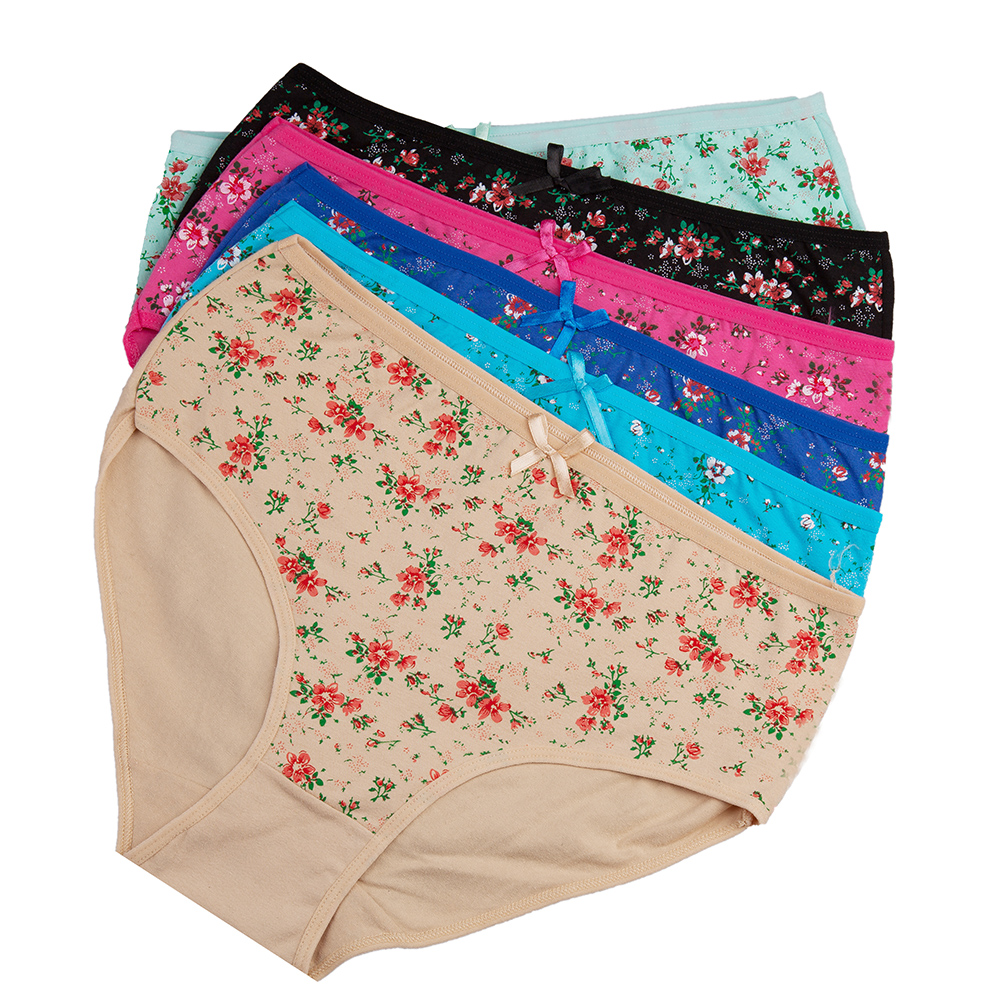 a8f21282c82 Details about 6pcs Womens Underwear Ladies Knickers PLUS SIZE Cotton Sexy  Floral Panties