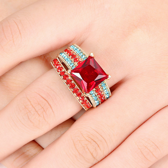 Professional Sale Silver Plated Large White Red Green Blue Simulated Gemstone Rings For Women Costume Jewelry Rings Size 6 7 8 9 Delicious In Taste Jewelry & Accessories