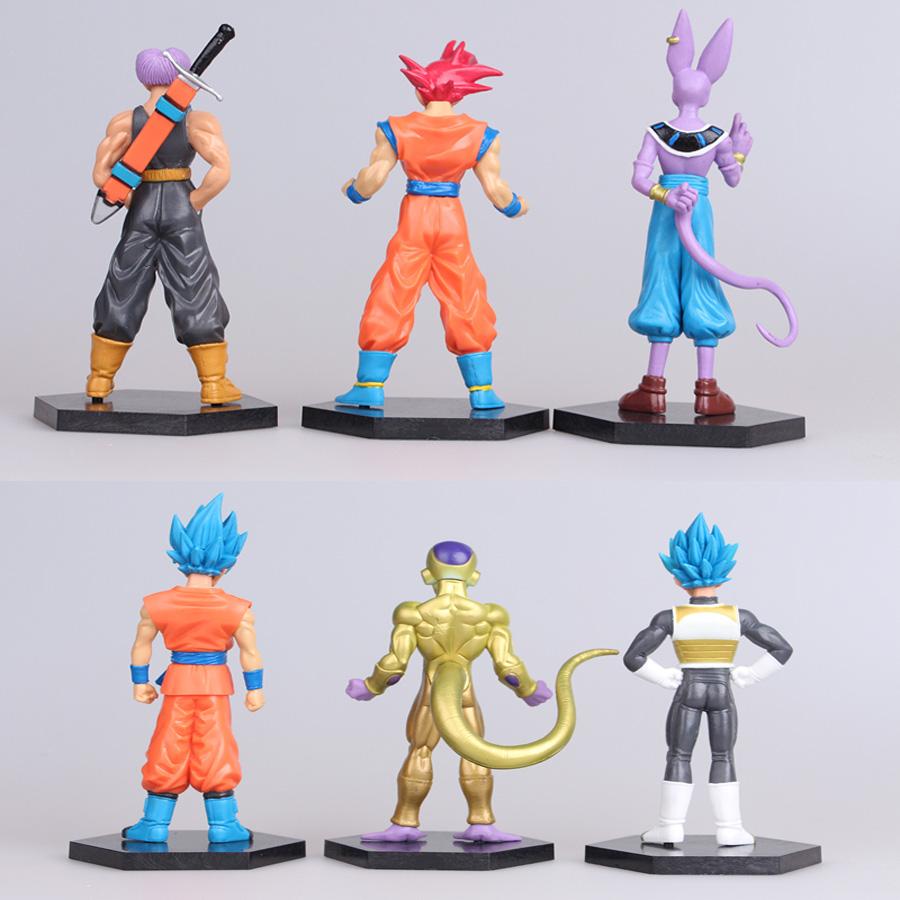 6pcs Dragon Ball Vegeta Beerus Son Goku Frieza Super Saiyan Figure Set Figurine