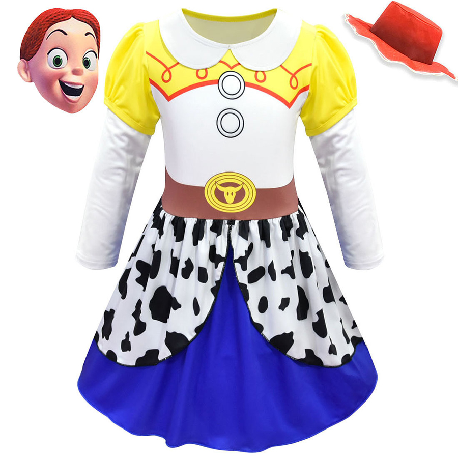 Toy Story 4 Girls Jessie Fancy Dress Cowgirl Halloween Cosplay Costume Outfits
