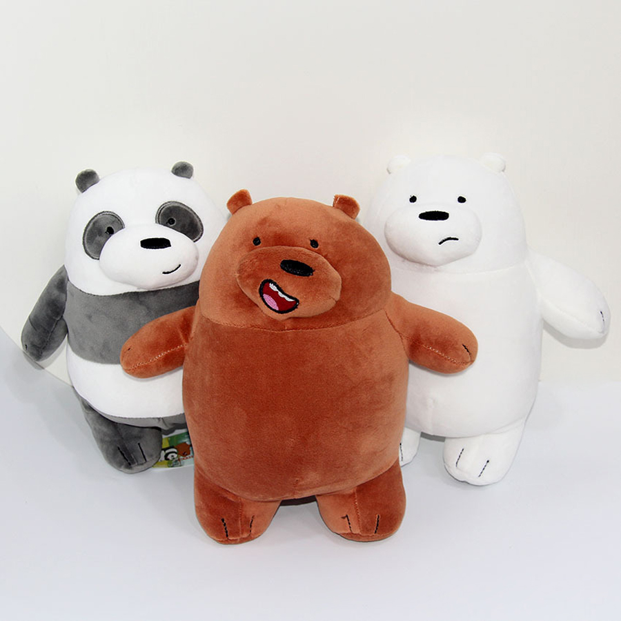 NEW We Bare Bears Peluches Grizzly Panda Ice Plush Doll Kids Toy ...