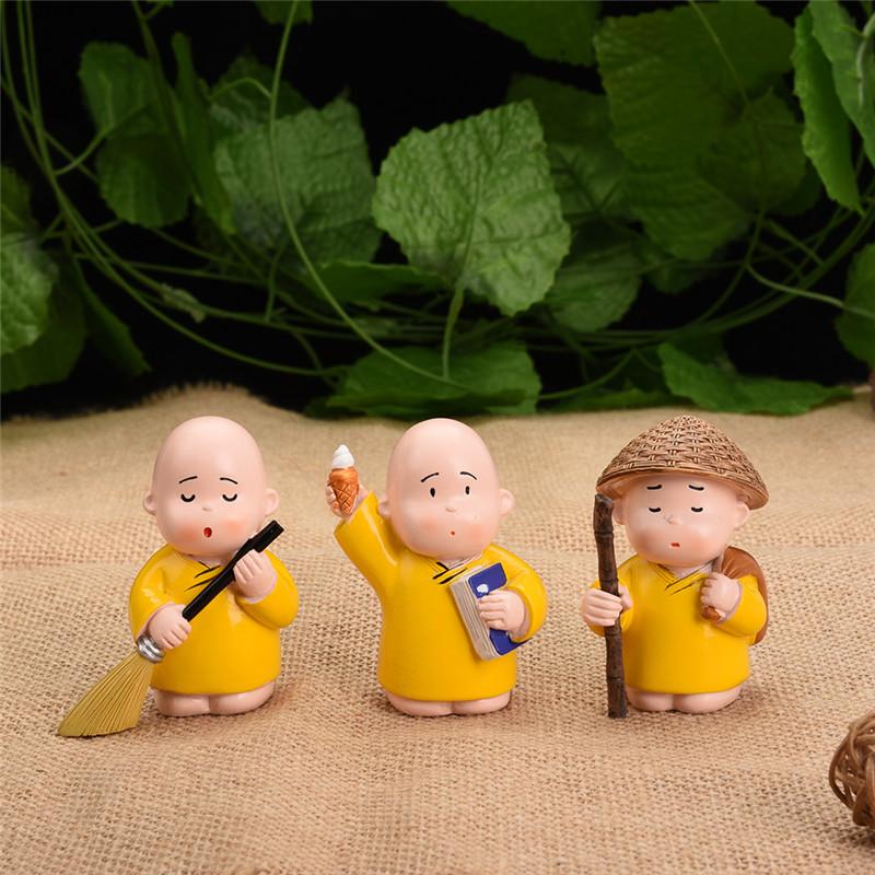 3pcs resin cute monks car decoration car interior toys car decoration ornaments ebay. Black Bedroom Furniture Sets. Home Design Ideas