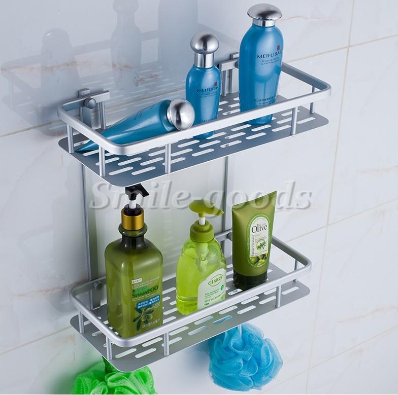 Bathroom Towel Rack Rail Holder Aluminium Basket Shelf Wall Mounted ...