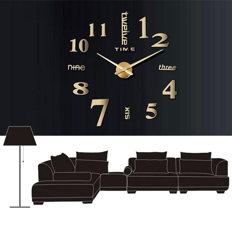 gold diy riesen designer wohnzimmer wanduhr dekoration wandtatoo xxl 3d clock ebay. Black Bedroom Furniture Sets. Home Design Ideas