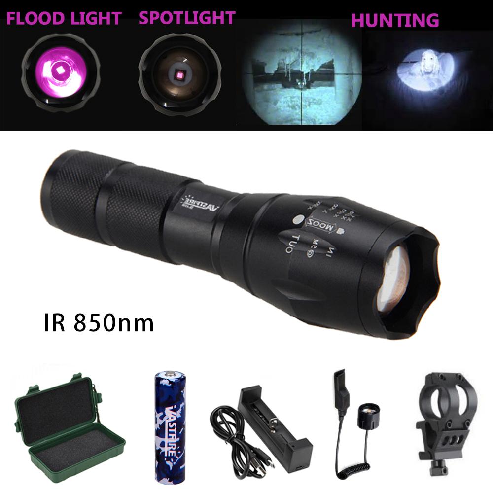 Zoom Focus 5 Watt 850 nm LED Infrared Radiation IR Lamp Night Vision Flashlight