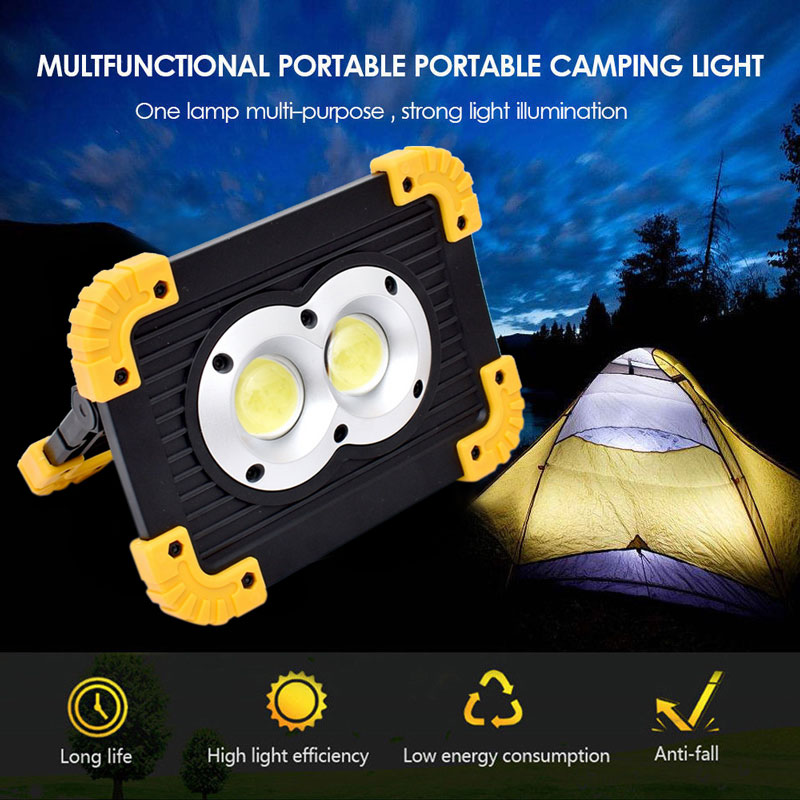 Portable USB COB LED Flood Light Outdoor Camping Spot Work Lamp Power Bank