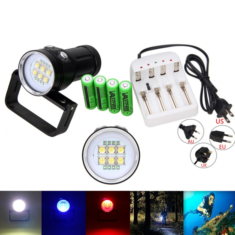 SCUBA 6xSSC-P7+4xR+4xB Diving 100m 20000LM 6xSSC-P7+4xR+4xB SCUBA LED Photography Video Flashlight Lamp 62aad0