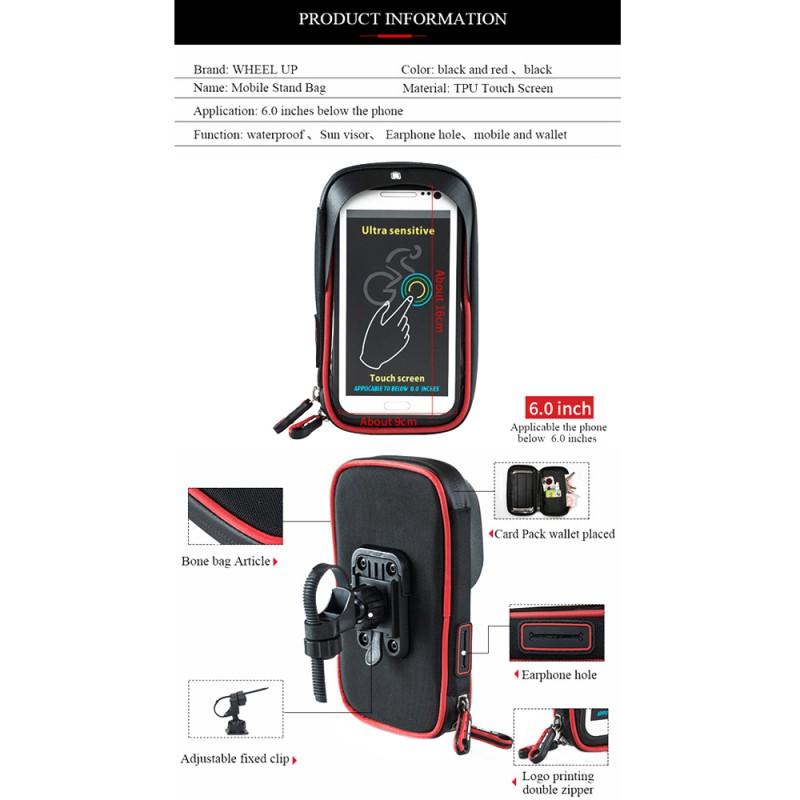 4419a0fe809 WHEEL UP Bike Cell Phone Bag Rainproof TPU Touch Screen Holder MTB Frame  Pouch