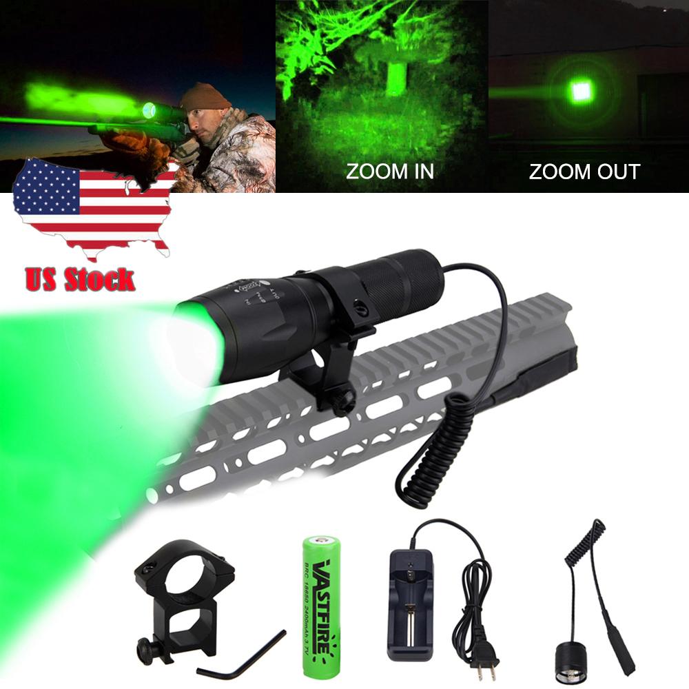 Tactical 350 Yard LED Hunting Torch Hog Night Predator Flashlight Rifle Gun Lamp