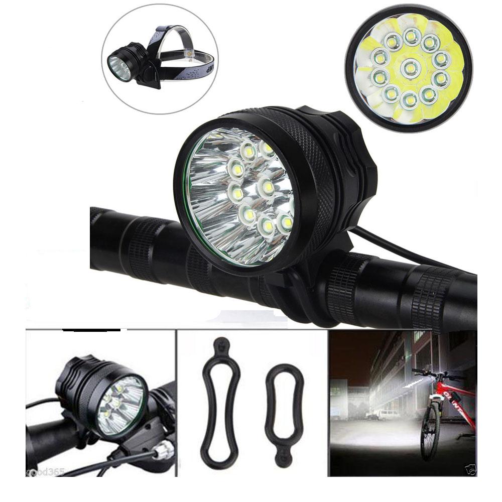 25000Lm 9x XM-L T6 LED Font Bike Bicycle Light Headlamp 6x18650+Laser Rear Lamp