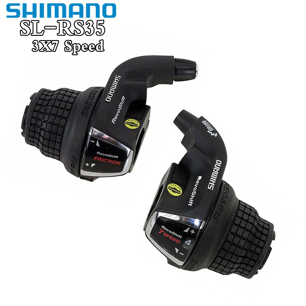 BLACK W// CABLES SHIMANO REVOSHIFT SL-RS35 GRIP TWIST BICYCLE SHIFTERS SET 3X7