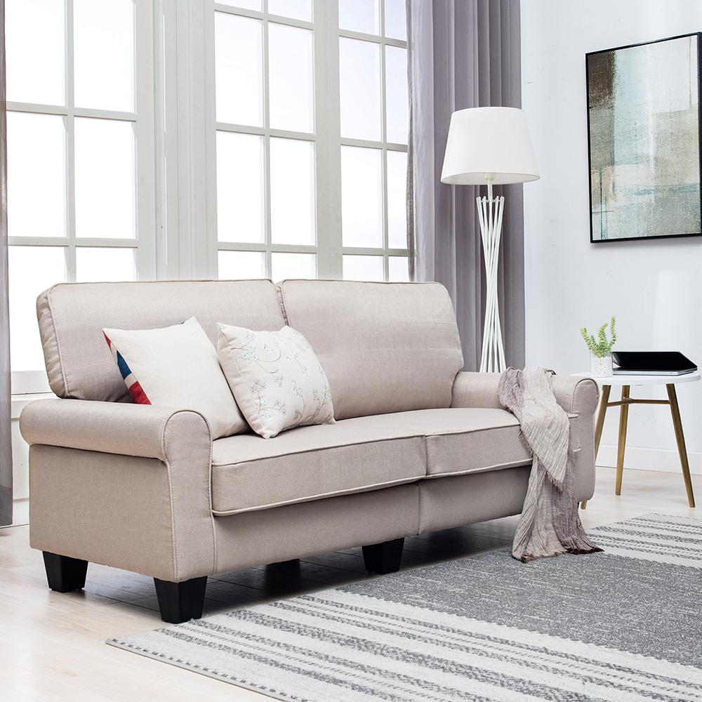 Upholstered loveseat sofa linen fabric 2 seater couch armrest livingroom beige