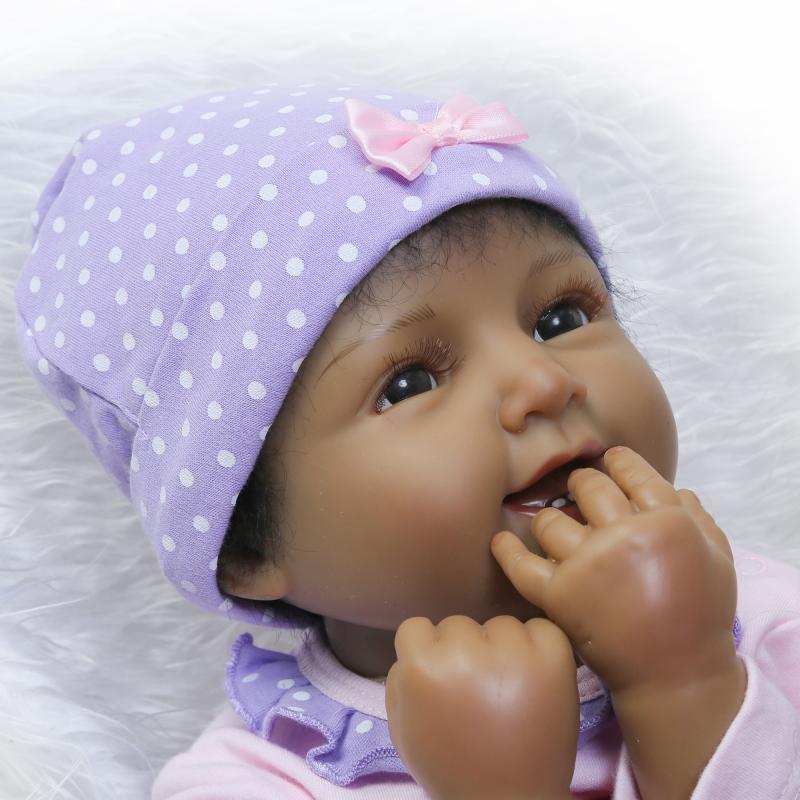 "22/"" Silicone Reborn Baby Vinyl Dolls Lifelike Black African American Smile Girl"
