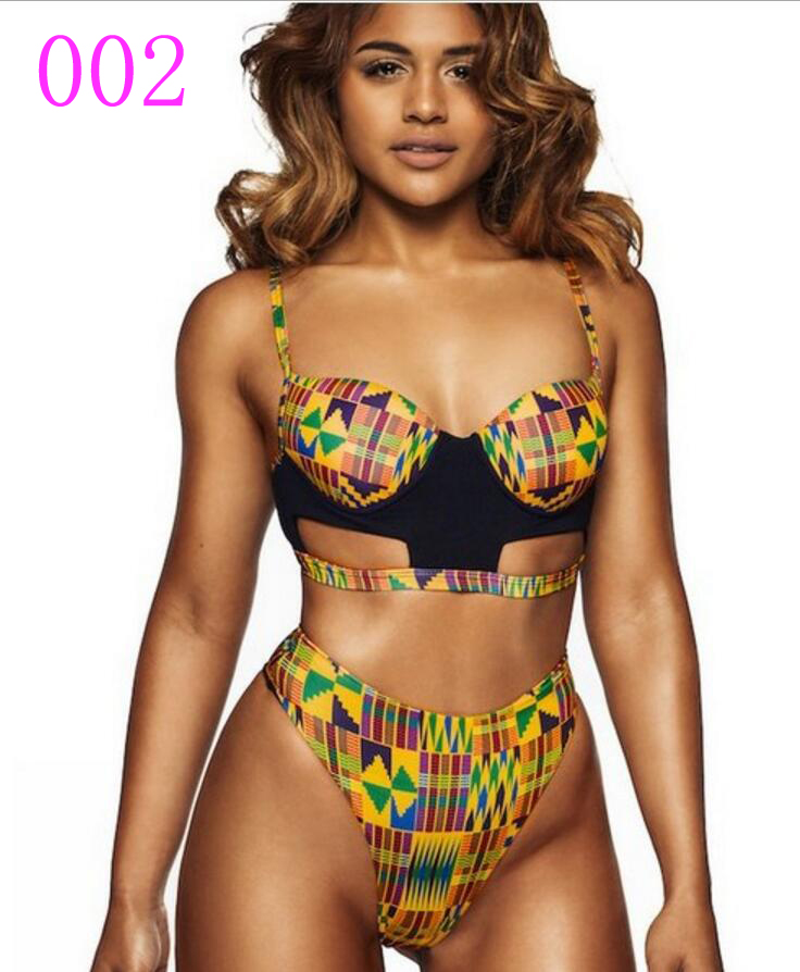 00d5d53ecc7c6 Plus Women African Print Bikini Sets Push up Padded Hollow Tribal Thong  Swimsuit