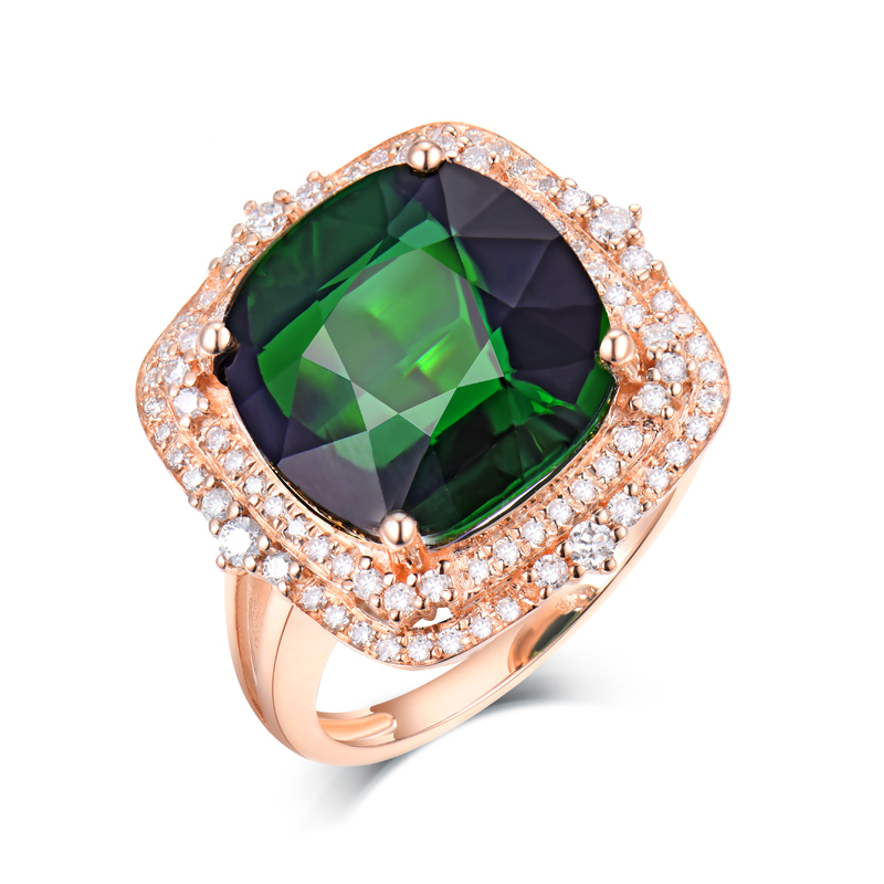 Big Jewelry 18K Rose Gold Full Cut Diamonds Women Wedding Green