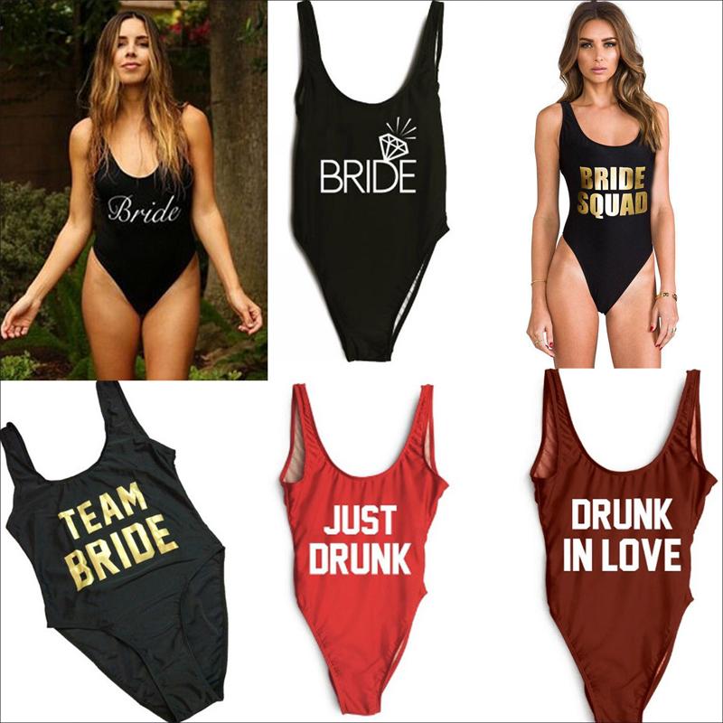 e3a0512e36 Details about Sexy Women Hen Party Swimwear Swimsuit One Piece Bodysuit Bride  Squad Team Bride