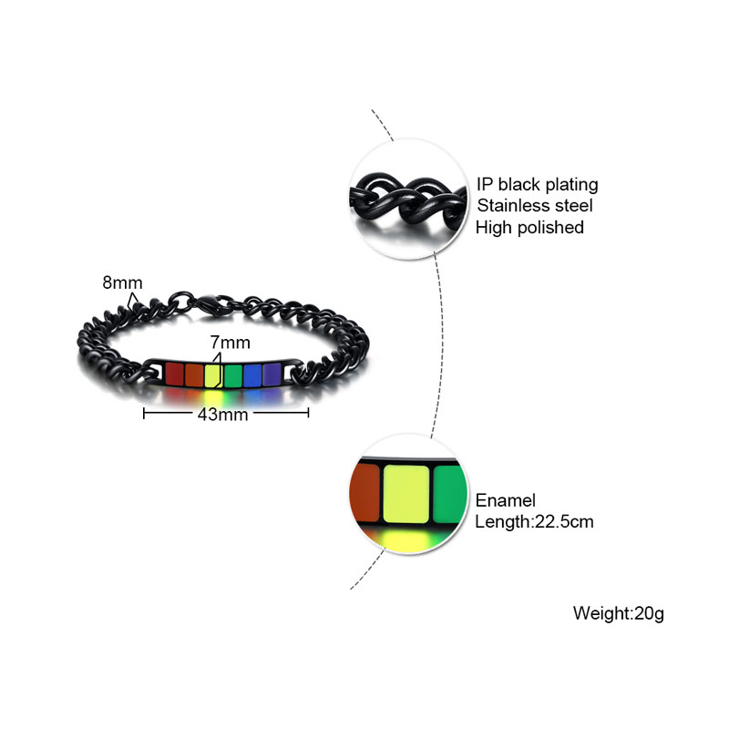 Men Gay Bracelet Chain Bangle Rainbow Color Stainless Steel 8.8 inch Pride Gift