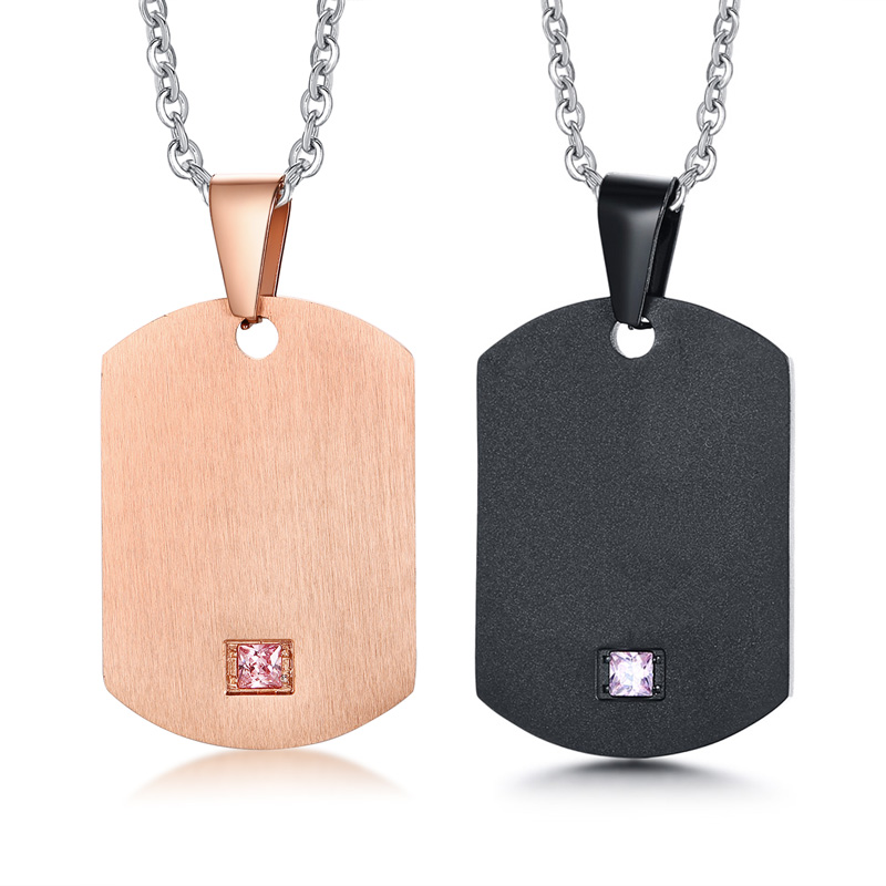 000a0b84f Couple Lover Necklace Dog Tag Pendant Gift Cubic Zirconia Stone Stainless  Steel