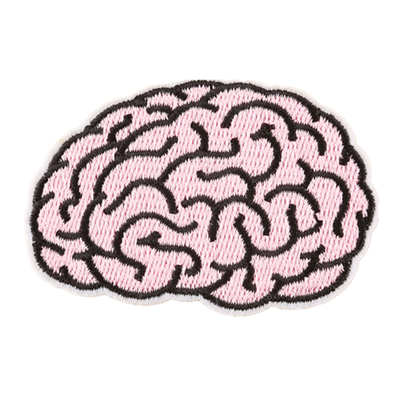 Embroidered Brain Patch Slogan Applique Iron on Patches Alien Cloth Badge