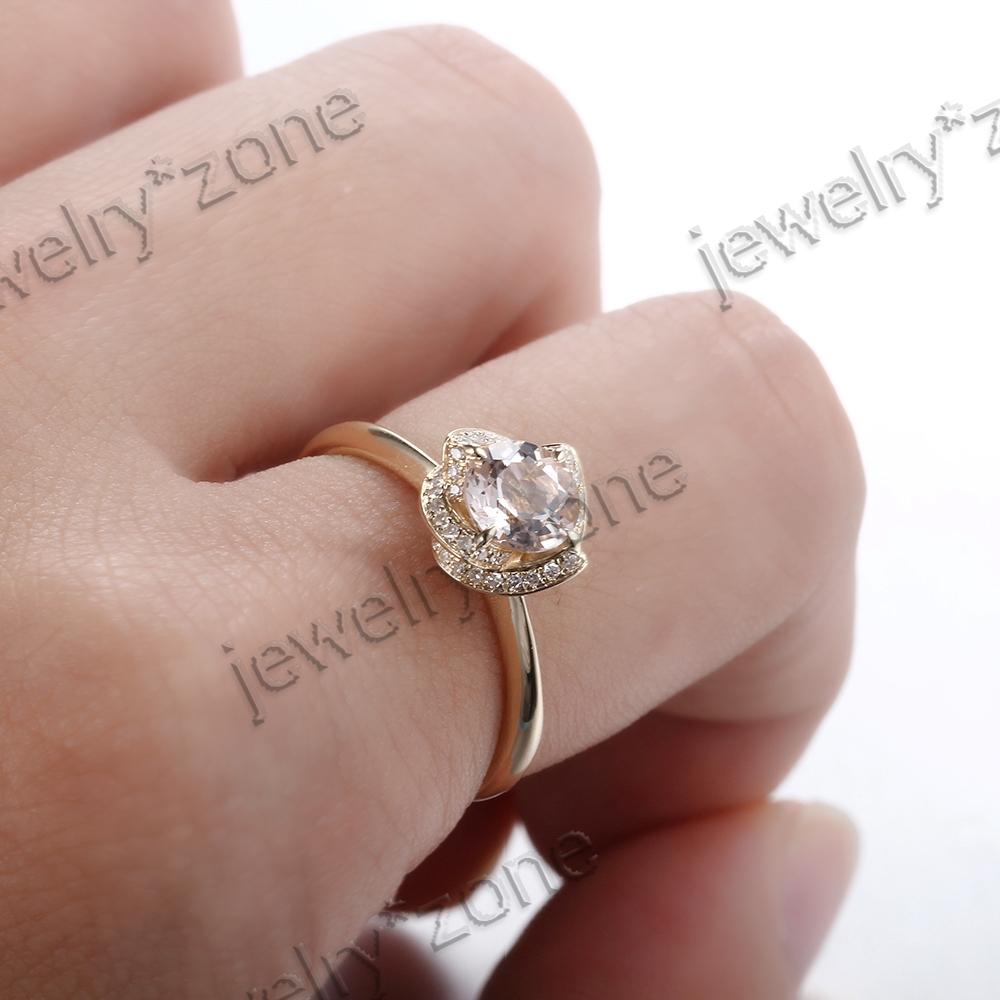 Morganite 925 Sterling Sliver Diamond Engagement Wedding Flower ...