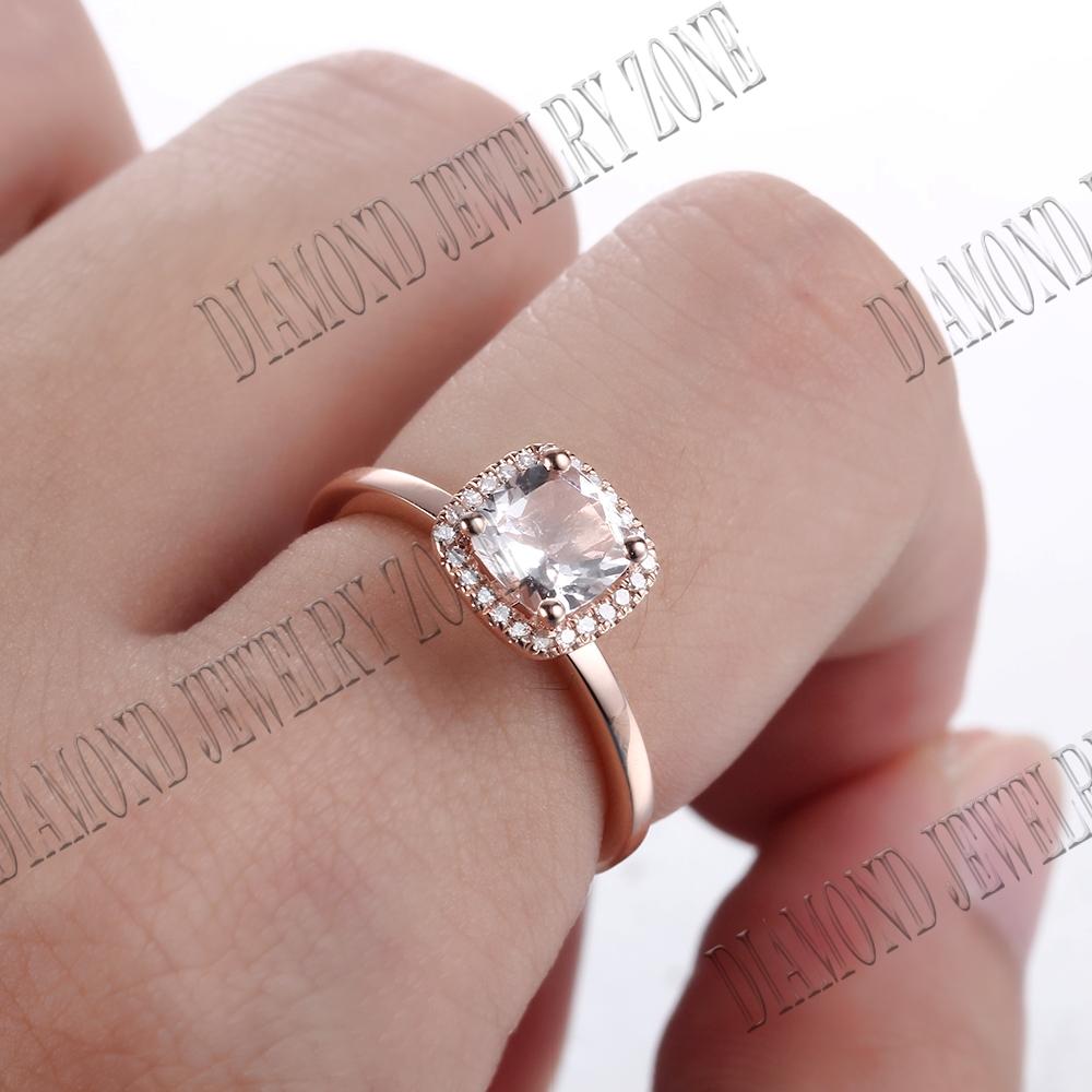 Silver 6mm Cushion Morganite Natural Diamond Eternity Engagement ...
