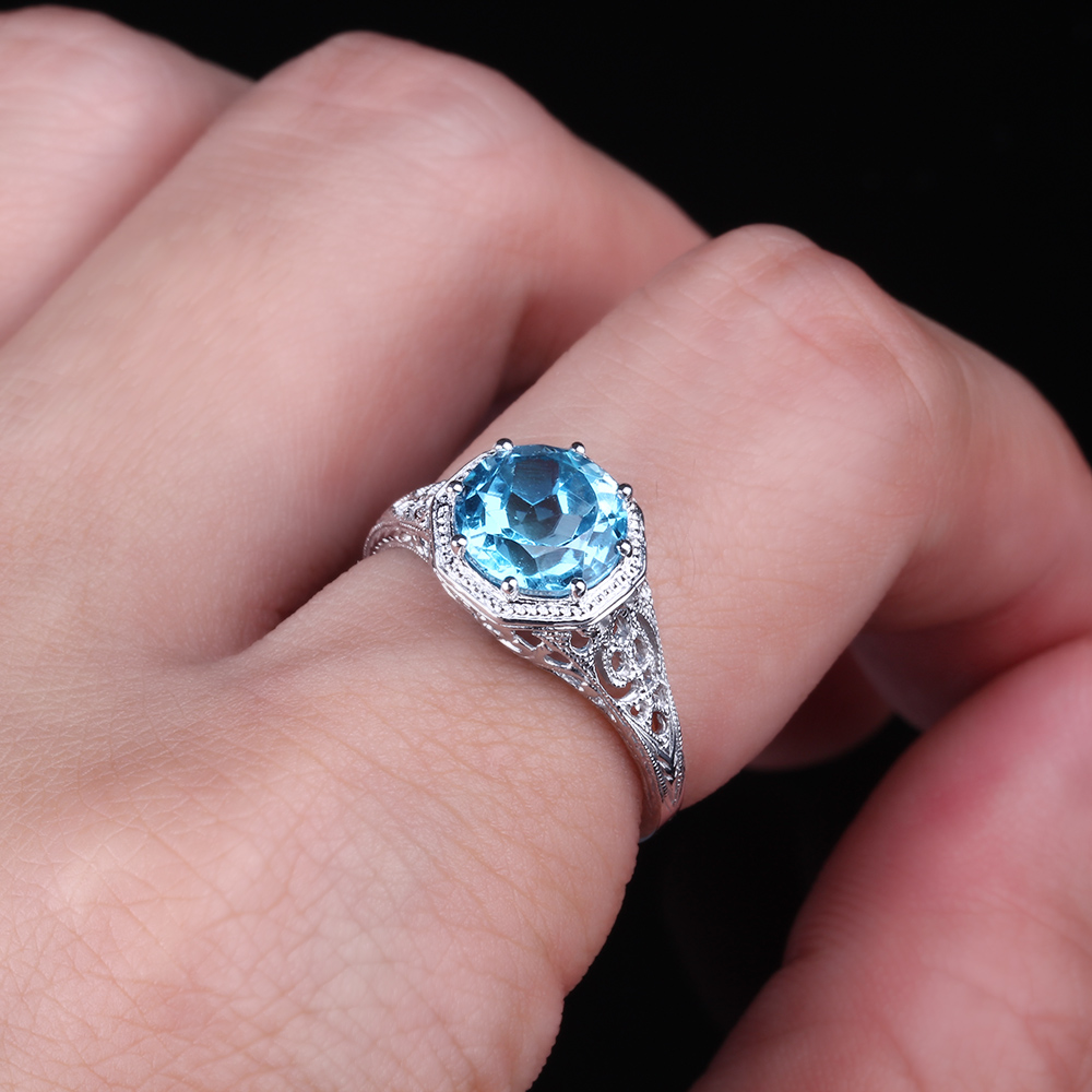 Round Cut Swiss Blue Topaz Antique Filigree Wedding Ring Solid 10K ...