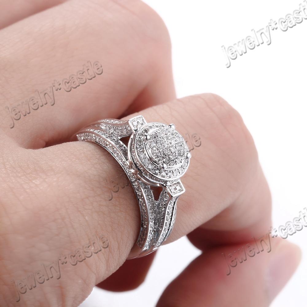 14K White Gold Engagement Wedding Pave Natural Diamond Elegant ...