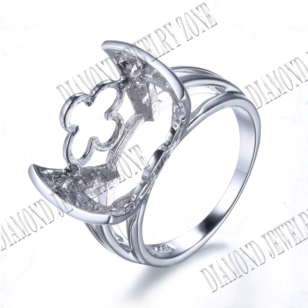 16X13mm Cushion Women 10K White Gold Semi Mount Engagement ...