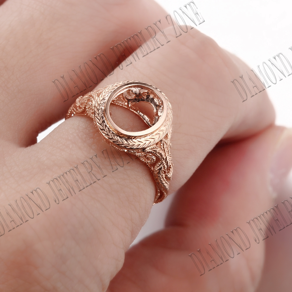 10K Rose Gold Solitaire Semi Mount Setting Antique Wedding Ring Oval ...