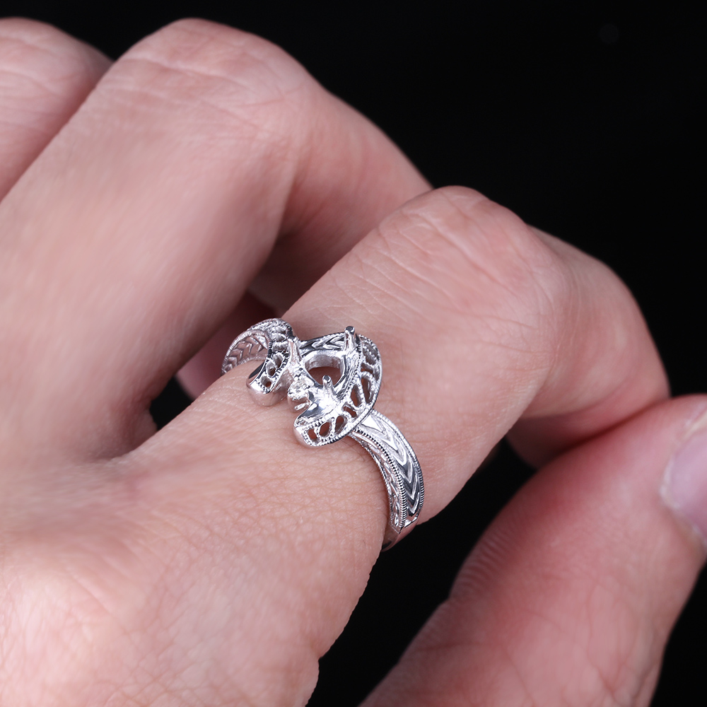 925 Sterling Silver Vintage 5MM Trillion Cut Semi Mount Diamond ...
