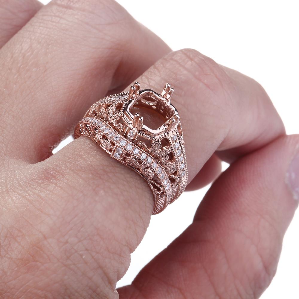 Silver 8x8mm Cushion Semi Mount 0.28CT Diamond Engagement Wedding ...